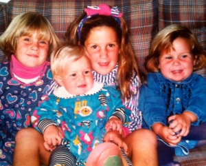 me on the far left, pink turtleneck [let's not get started on the hair].