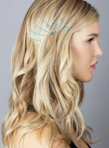 blue cascading bobby pins
