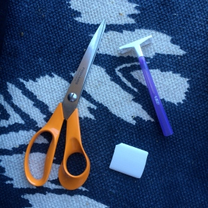 tools: scissors, chalk, razor